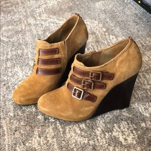 Tory Burch wedge booties with gold buckles